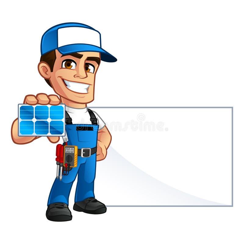 Technika installer panel słoneczny ilustracja wektor
