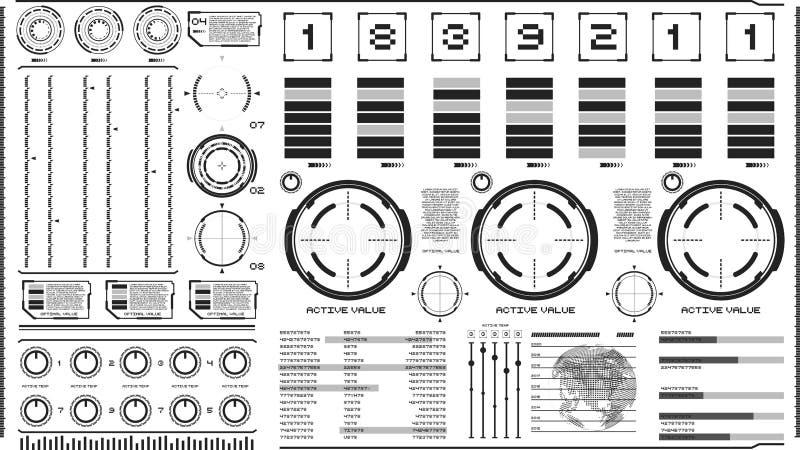 Technika interfejs na lekkim tle Projektuje elementy dla hud, interfejs użytkownika, animacja, ruchu projekt ilustracji