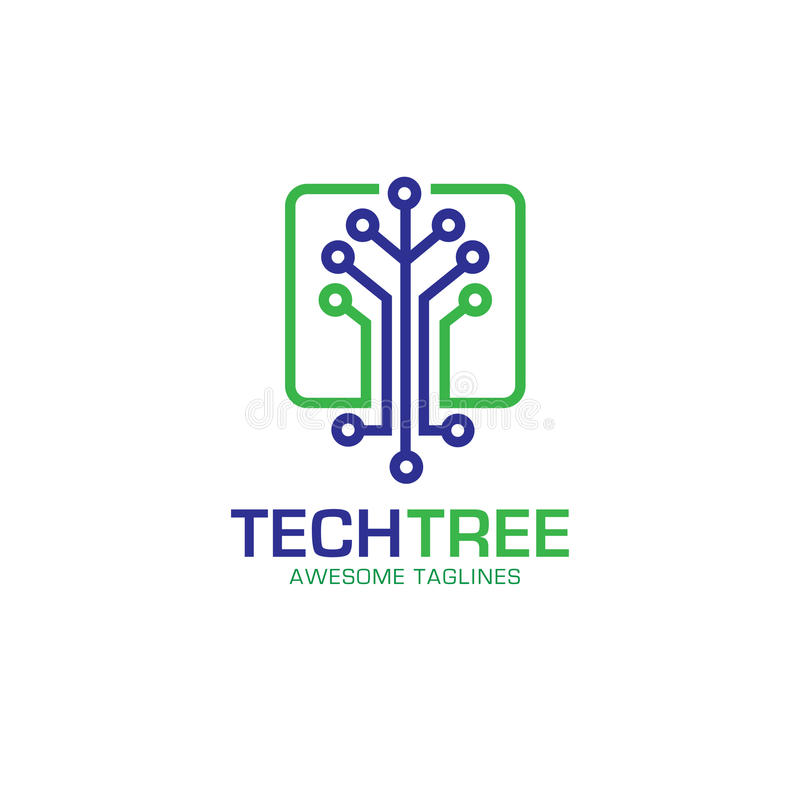 Technika loga drzewny pojęcie ilustracja wektor