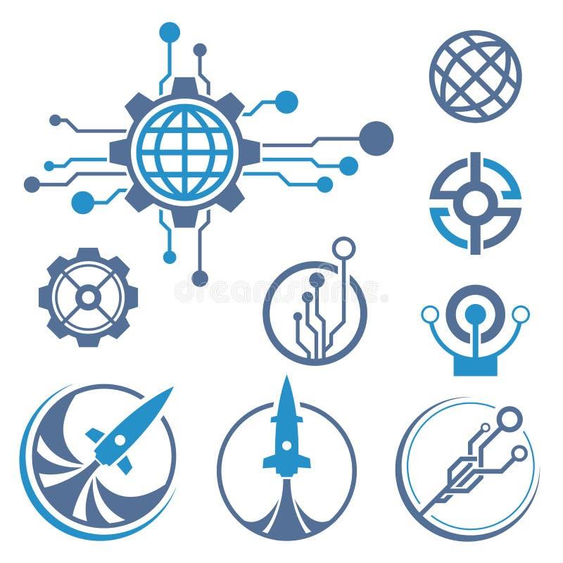 Technika logo Rakietowa ikona ilustracja wektor