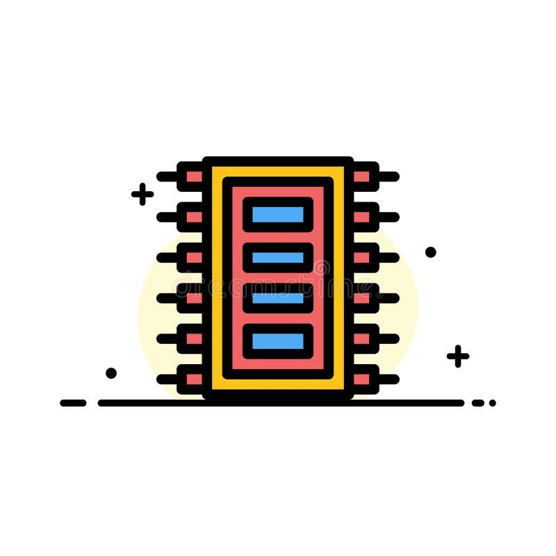 Technika, narzędzia, układ scalony, komputer, Łączy Biznesowa linia Wypełniającego mieszkanie ikony sztandaru Wektorowego szablon ilustracji