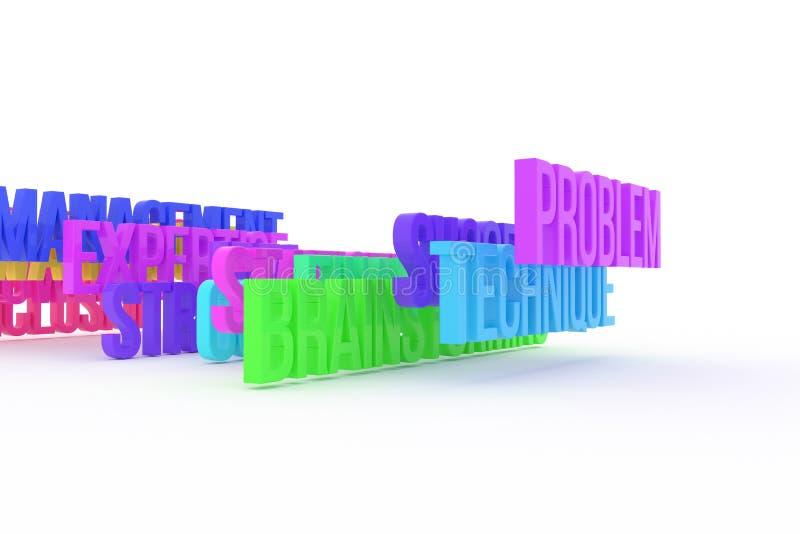 Technika, problem & brainstorming, biznesowi konceptualni kolorowi 3D słowa Komunikacja, pozytyw, wiadomość & styl, ilustracja wektor