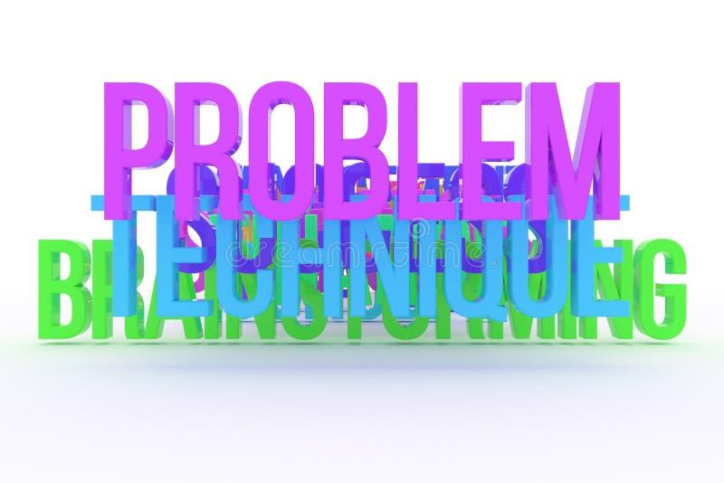 Technika, problem & brainstorming, biznesowi konceptualni kolorowi 3D słowa Sieć, projekt, tło & wiadomość, royalty ilustracja