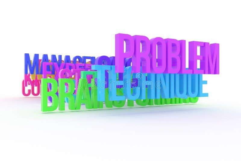 Technika, problem & brainstorming, biznesowi konceptualni kolorowi 3D słowa Tekst, wiadomość, tapeta & twórczość, ilustracja wektor