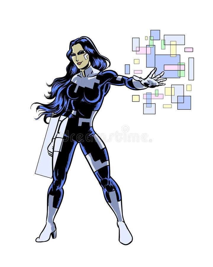 Technika super bohatera kobiety komiksu obrazkowy charakter royalty ilustracja