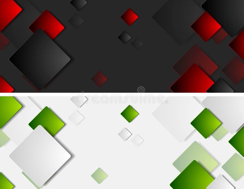 Technika wektorowi sztandary z kwadratami ilustracji