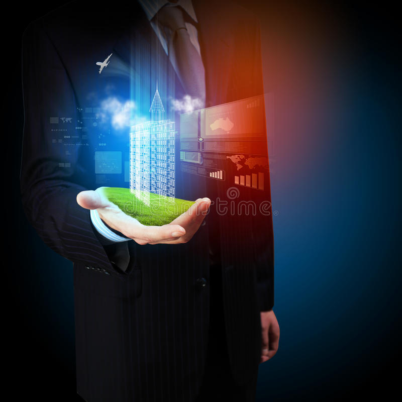 Technikautomatisierungs-Gebäudeentwurf stock abbildung