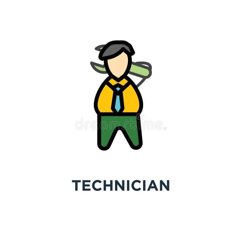 Techniker Icon Erbauer oder Ingenieur, Entwicklung, Entwurfszeichentrickfilm-figur, Konzeptsymbolentwurf, Mechaniker, Bauarbeiter lizenzfreie abbildung