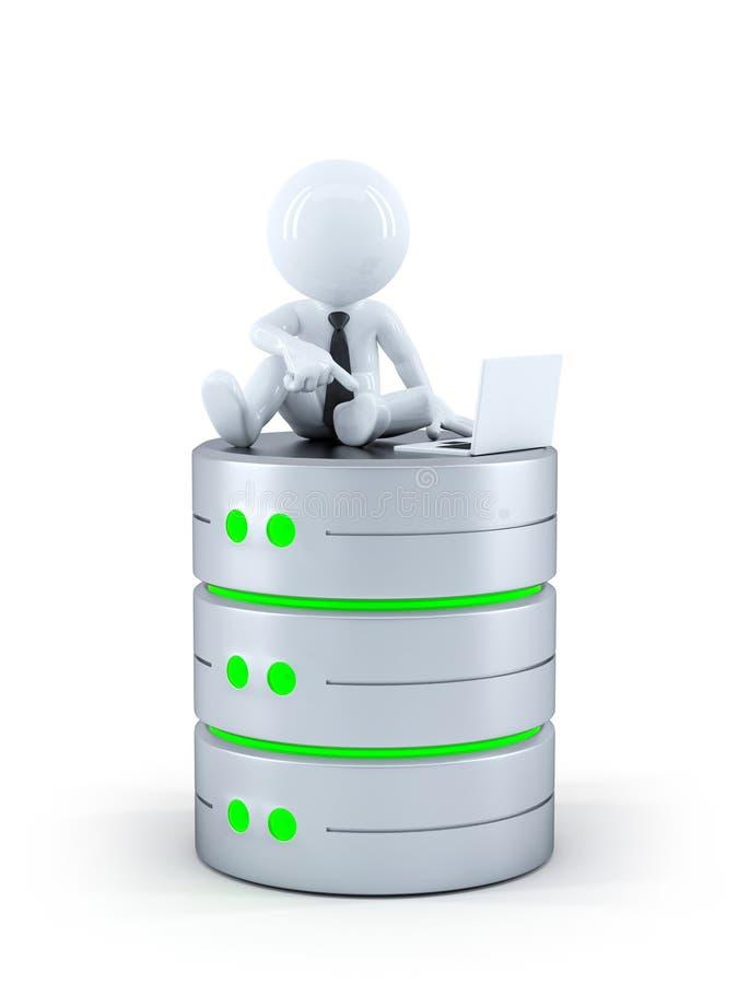 Techniker mit Laptop auf die Datenbank stock abbildung