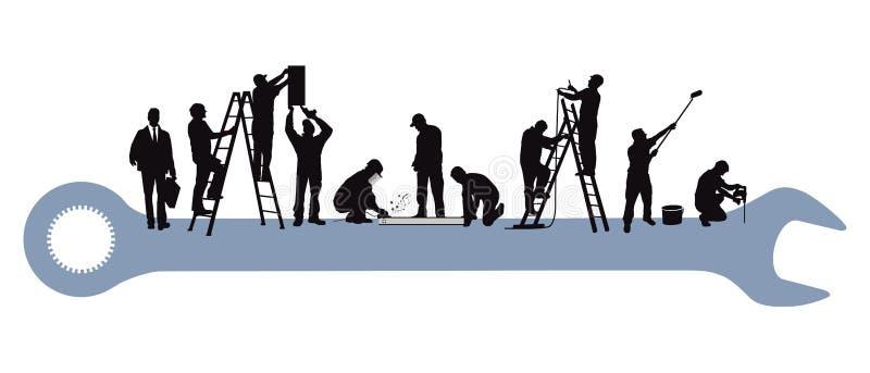 Techniker und Handwerker an der Reparatur lizenzfreie abbildung