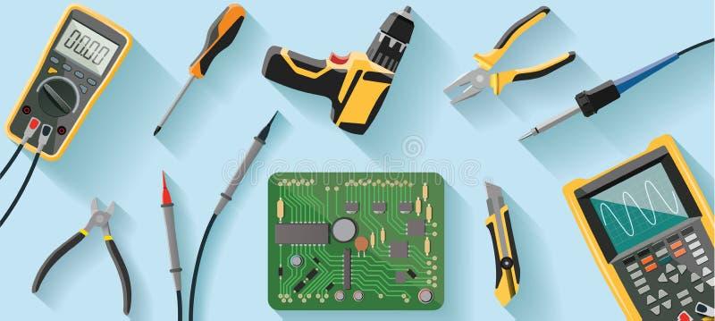 Technikerschreibtisch mit Werkzeugen lizenzfreie abbildung