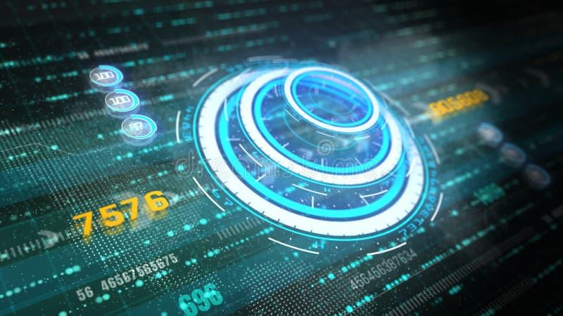 techniki interfejs użytkownika graficzna futurystyczna głowa w górę pokazu ekranu z cyfrowymi dane i ewidencyjnym pokazem dla cyf ilustracji