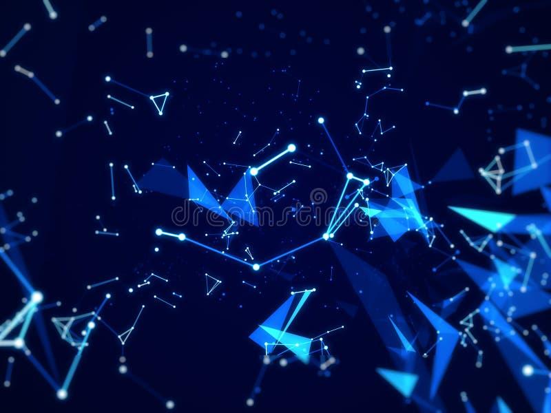 Techniki tło Z kreskowym abstrakcjonistycznym Złączonym sieci tłem, błękitny wieloboka temat ilustracji