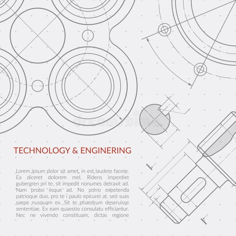 Technikvektorkonzept mit Teil der technischen Zeichnung der Maschinerie vektor abbildung