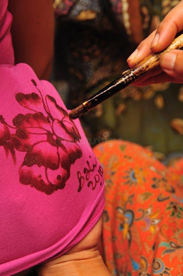 Technique of Batik painting stock images