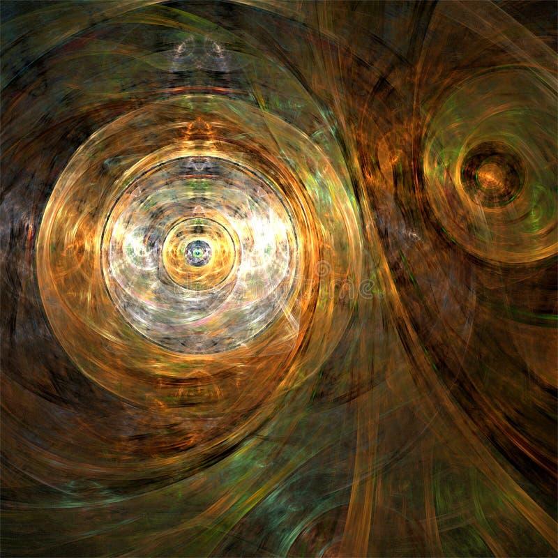 Technique métallique de formes rondes de fractales d'abrégé sur art de fractale de calculateur numérique illustration stock
