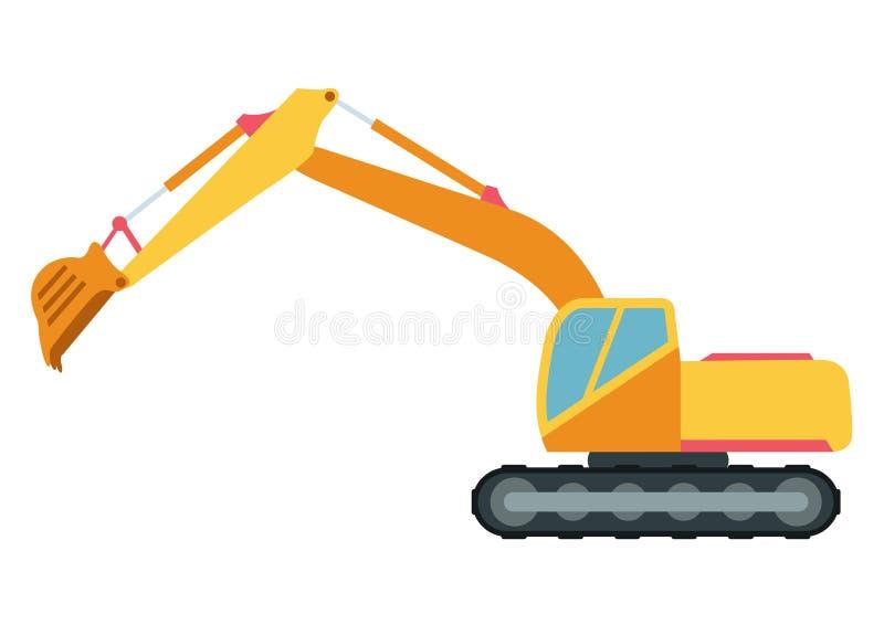 Techniques en construction de construction d'excavatrice illustration de vecteur