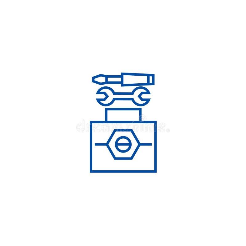 Technisch het pictogramconcept van de hulpmiddelenlijn Technisch hulpmiddelen vlak vectorsymbool, teken, overzichtsillustratie stock illustratie