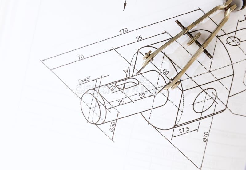 Technisch tekeningskompas stock afbeeldingen