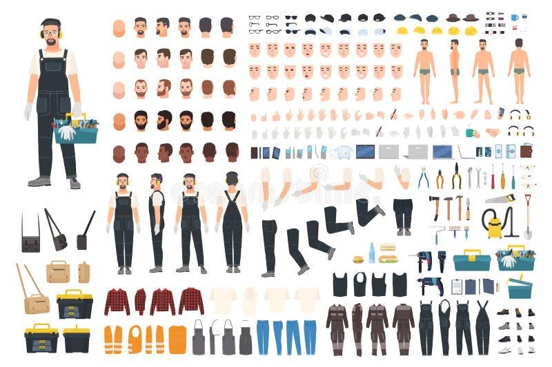 Technische Arbeitskraftschaffungsausrüstung Satz flache männliche Zeichentrickfilm-Figur-Körperteile, Haut schreibt, Gesichtsgest lizenzfreie abbildung