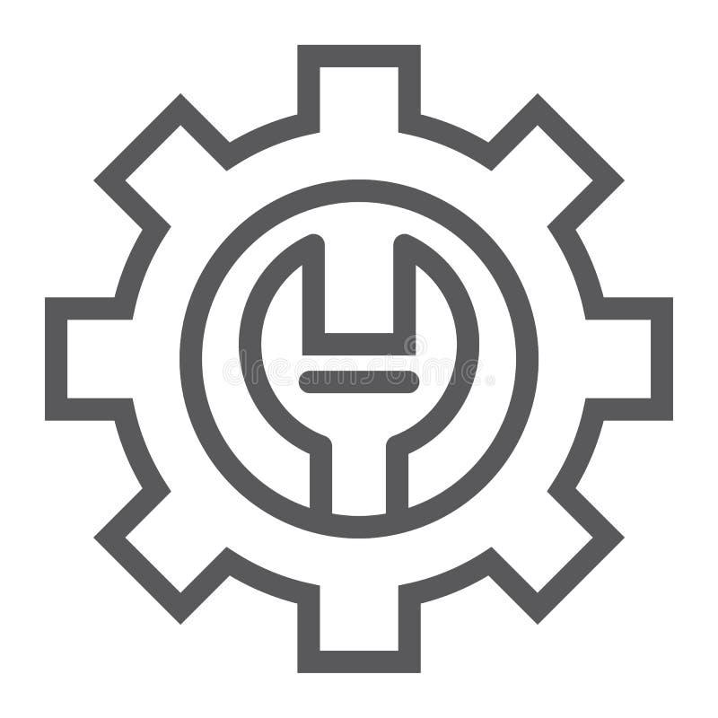 Technische Deckungslinie Ikone, Wartung und Service, Einstellungszeichen, Vektorgrafik, ein lineares Muster lizenzfreie abbildung