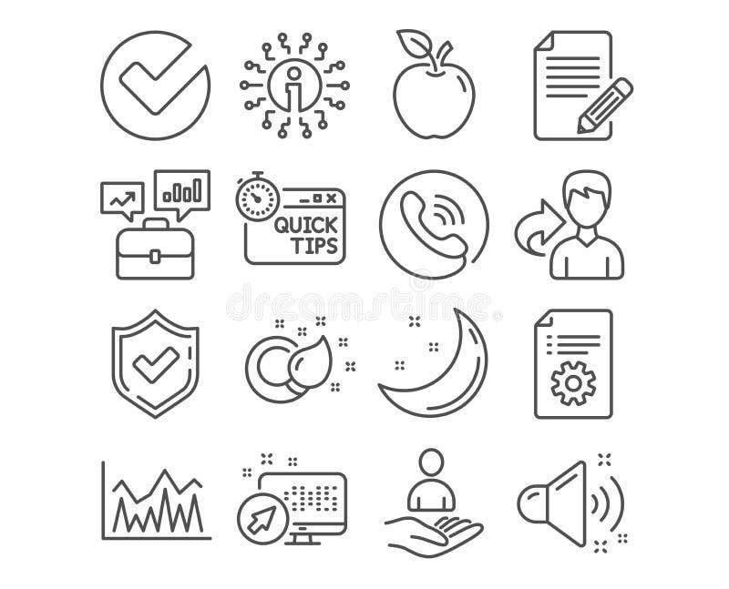 Technische documentatie, Investering en Snelle uiteindenpictogrammen Verfborstel, Artikel en Luide correcte tekens Vector vector illustratie