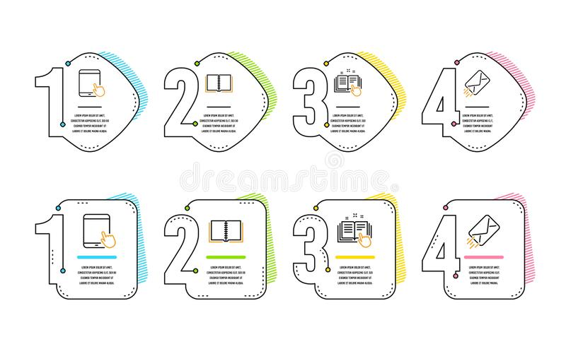 Technische documentatie, Tabletpc en geplaatste Boekpictogrammen E-mail teken Vector stock illustratie
