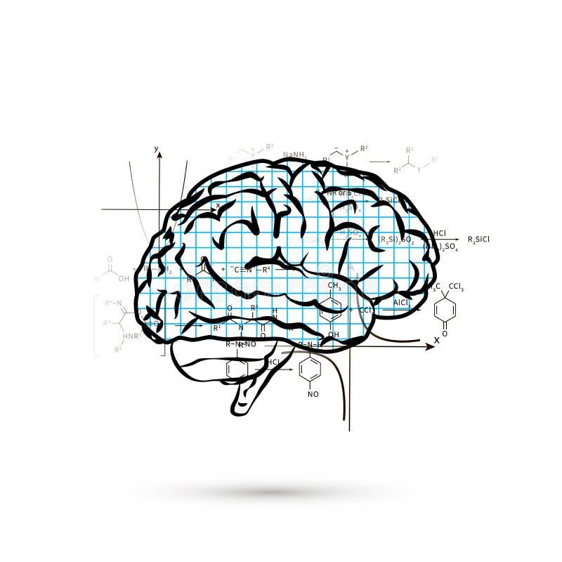 Technische hemisfeer van menselijke hersenen, conceptenillustratie op wit royalty-vrije illustratie