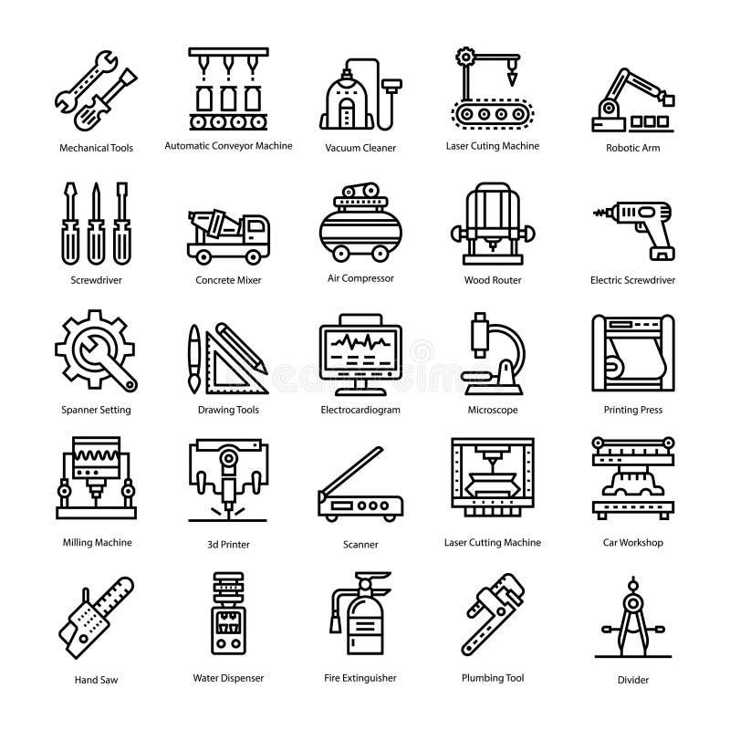 Technische Hulpmiddelen en Machines Geplaatste Lijnpictogrammen royalty-vrije illustratie