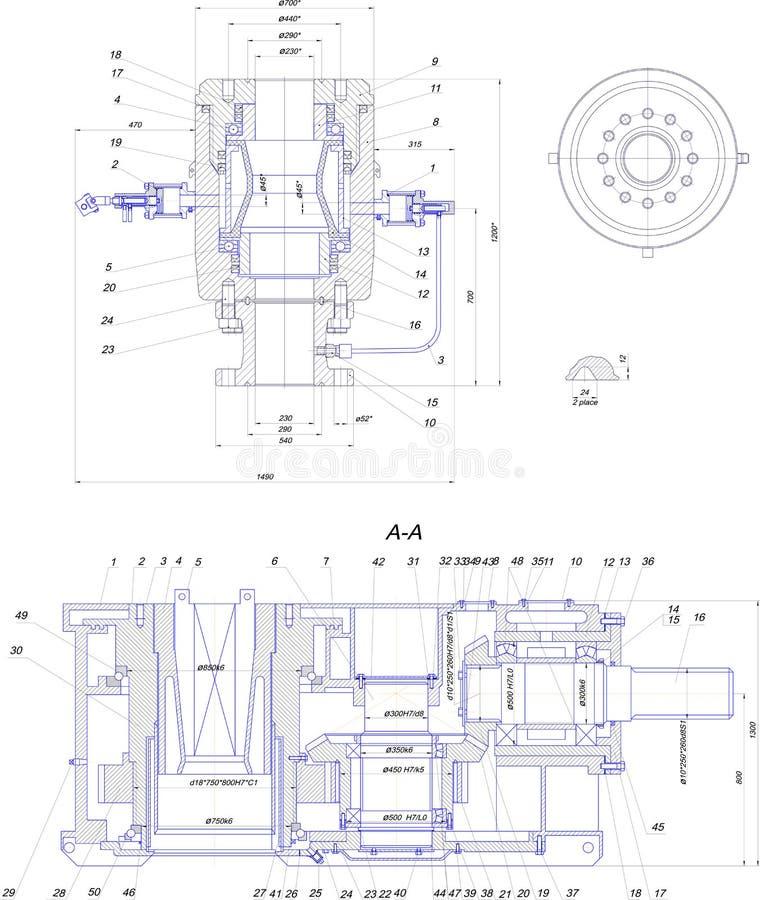 Technische Konstruktionszeichnung Der Industriellen Ausrüstung Stock ...
