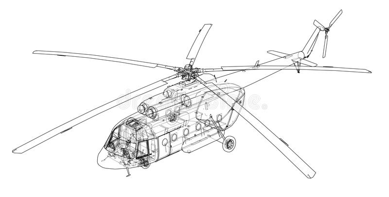 Technische Konstruktionszeichnung des Hubschraubers vektor abbildung
