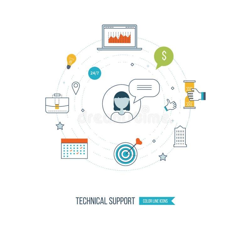 Technische ondersteuning vlakke illustratie Strategie voor succesvolle zaken stock illustratie