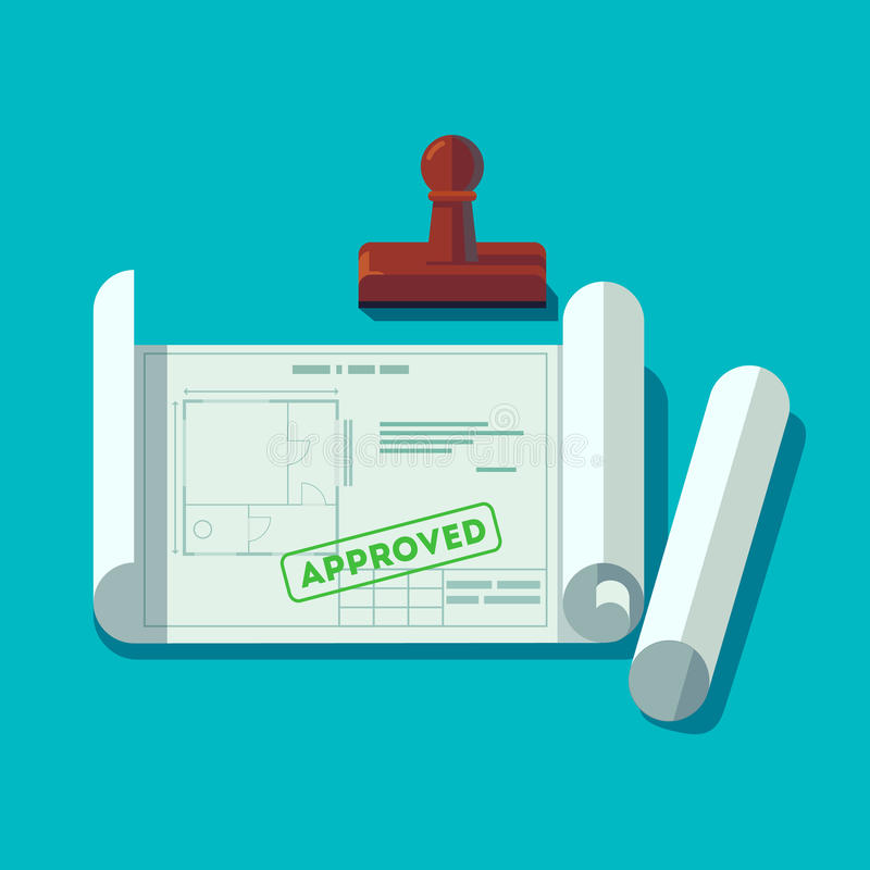 Technische Pläne der Hausplanung stock abbildung