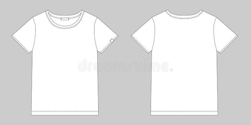 Technische schets unisex-t-shirt Het malplaatje van het t-shirtontwerp Voorzijde en Rug royalty-vrije illustratie