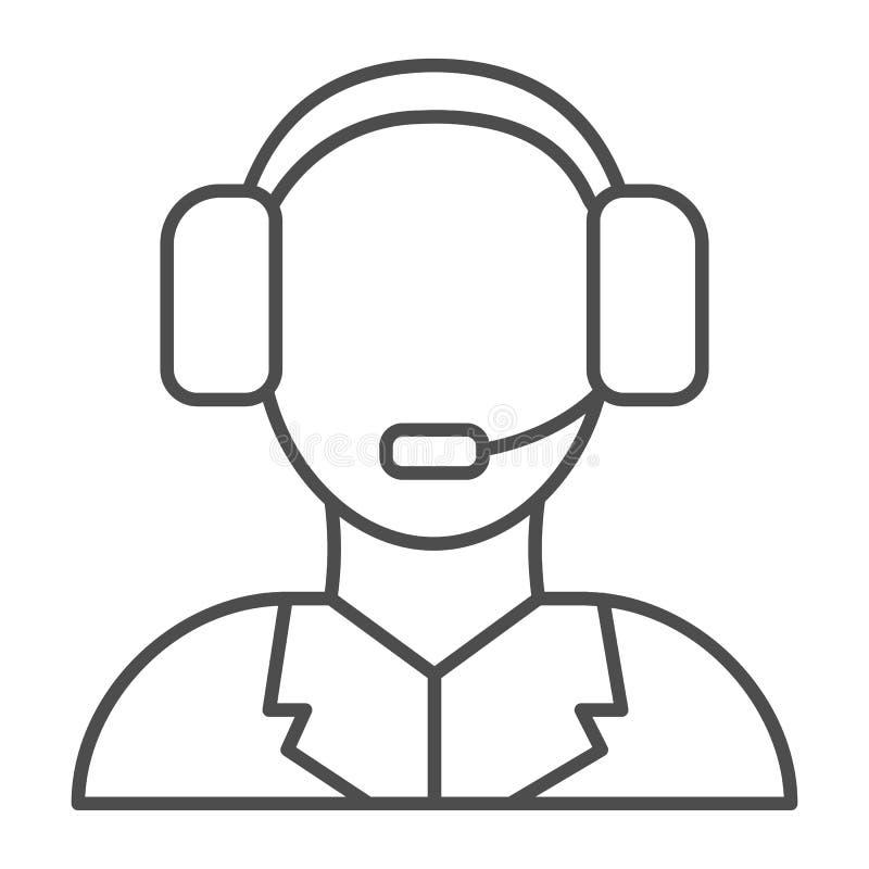 Technische Stützdünne Linie Ikone Call-Center-Vektorillustration lokalisiert auf Weiß Unterstützungsentwurfs-Artentwurf lizenzfreie abbildung