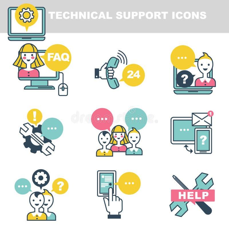 Technische Stützikonen, die Hilfe telefonisch oder Internet symbolisieren lizenzfreie abbildung