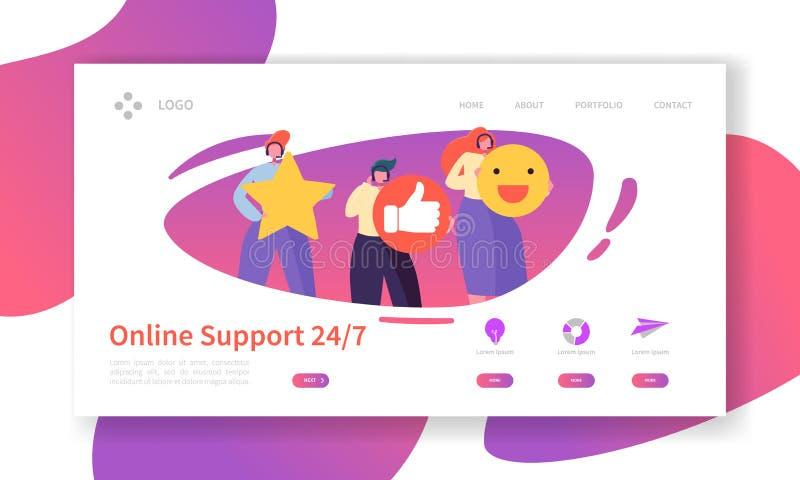 Technische Stützlandungs-Seiten-on-line-Schablone Unterstützungs-Service-Website-Plan mit flachem Leute-Charakter-Betreiber stock abbildung