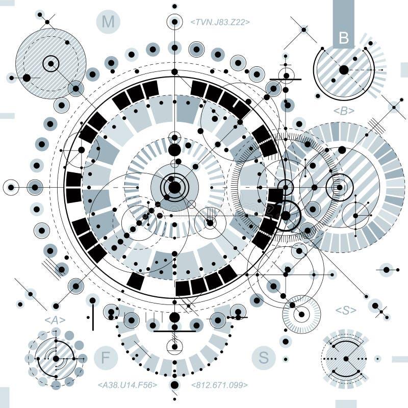 Technische tekening met gestormde lijnen en geometrische vormen, vector vector illustratie