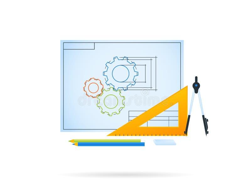 Technische tekening van toestelmechanisme vector illustratie