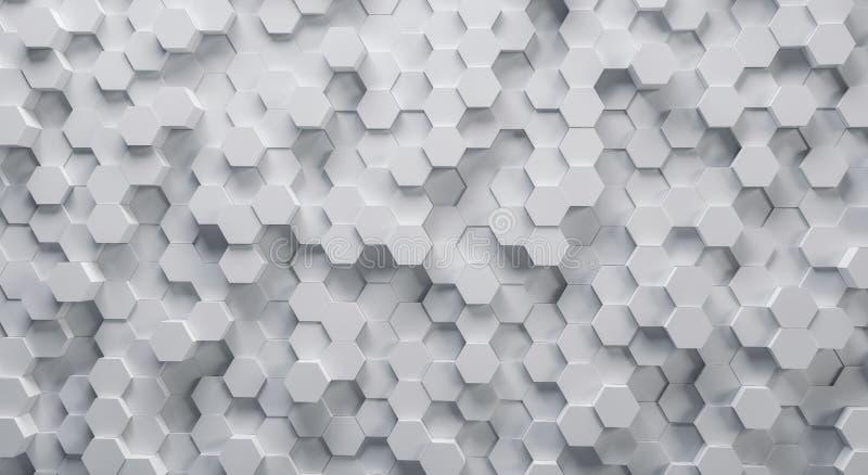 Technische weiße sechseckige Struktur des Hintergrundes 3D stock abbildung