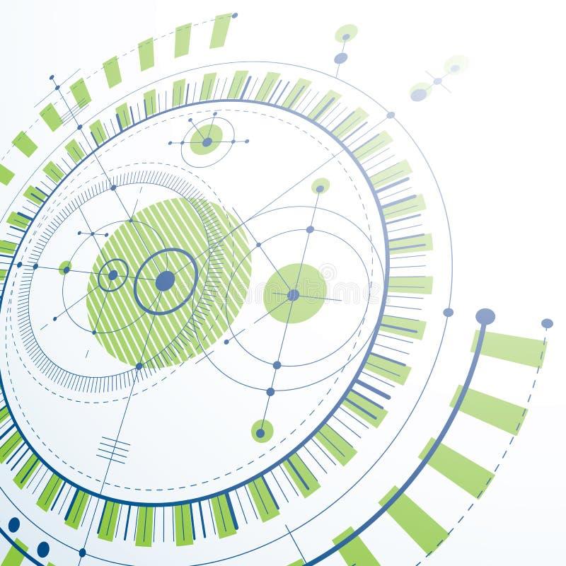 Technische Zeichnung gemacht unter Verwendung der ausgestrichenen Linien und der geometrischen Kreise stock abbildung