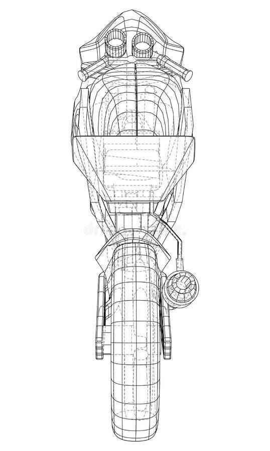 Technischer Drahtrahmen des Sport-Motorrads Vektor-Wiedergabe von 3d vektor abbildung