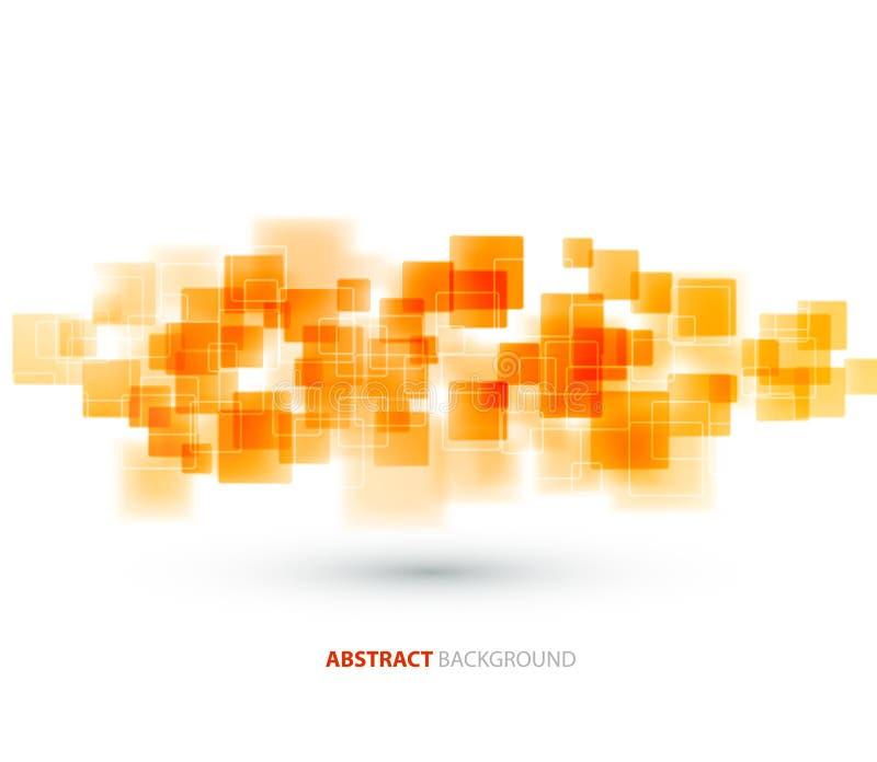 Technischer Hintergrund der orange glänzenden Quadrate Vektor vektor abbildung