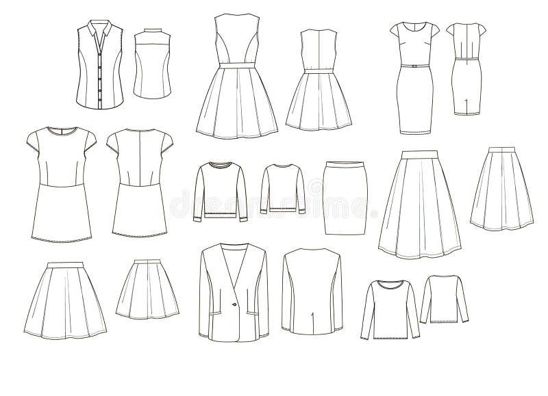 Technischer Satz drawig die Kleidung der Frau lizenzfreie abbildung