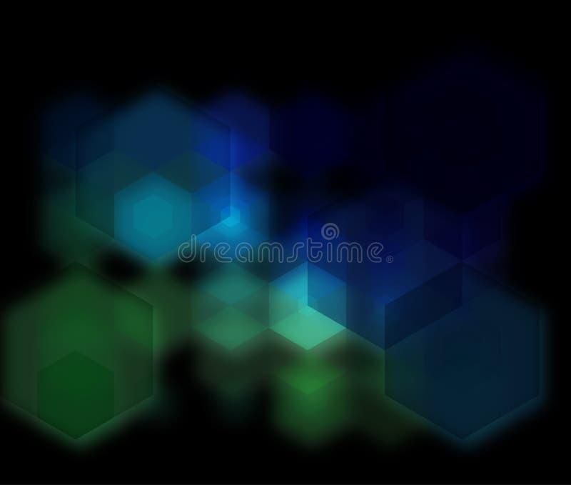 Techno发光的玻璃六角形传染媒介背景 向量例证