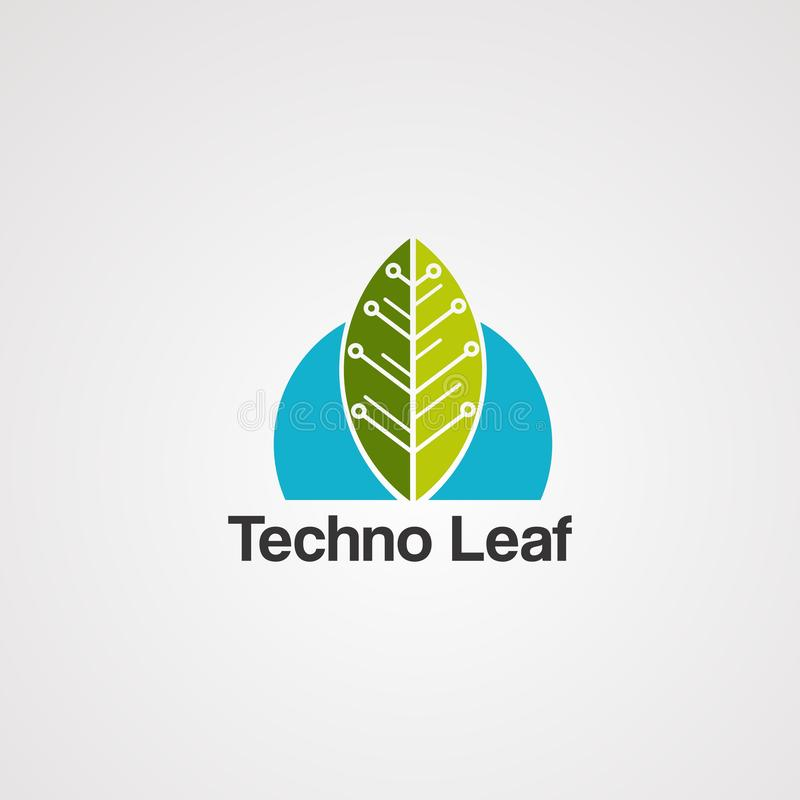 Techno叶子商标传染媒介、象、元素和模板 库存例证