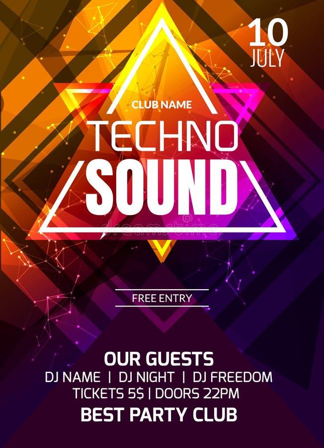 Techno听起来音乐党模板,舞会飞行物,小册子 集会俱乐部创造性的横幅或海报DJ的 皇族释放例证