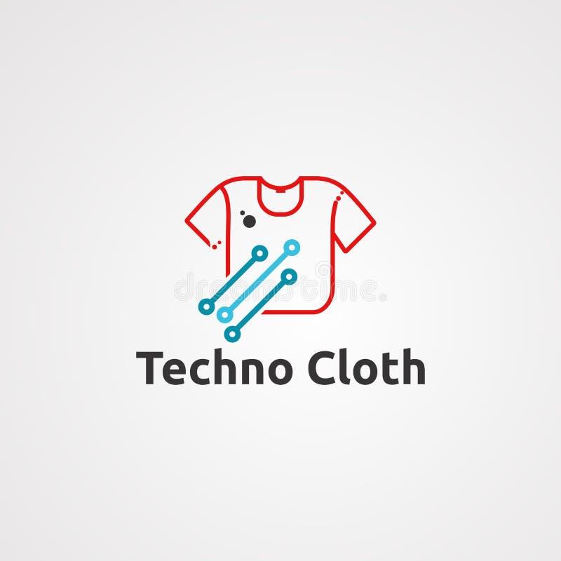 Techno布料商标传染媒介、象、元素和模板公司的 向量例证