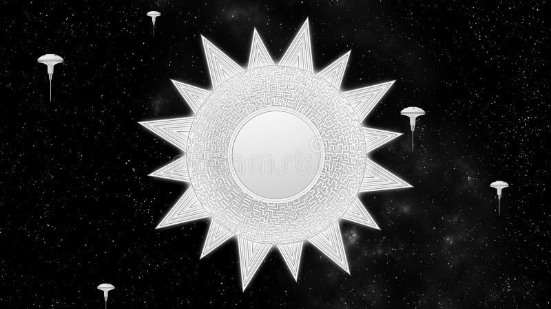 Techno科学幻想小说太阳空间站在星背景3d转动 向量例证