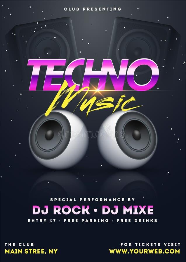 Techno音乐与例证的党模板 库存例证
